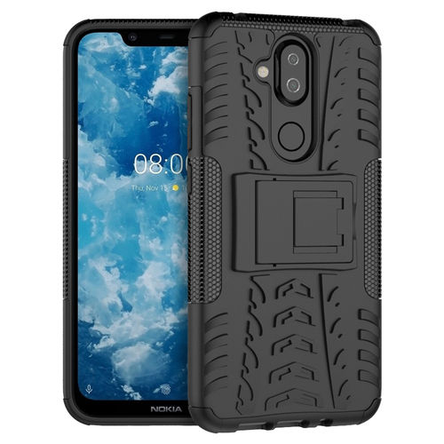 Dual Layer Rugged Tough Case & Stand for Nokia 8.1 - Black